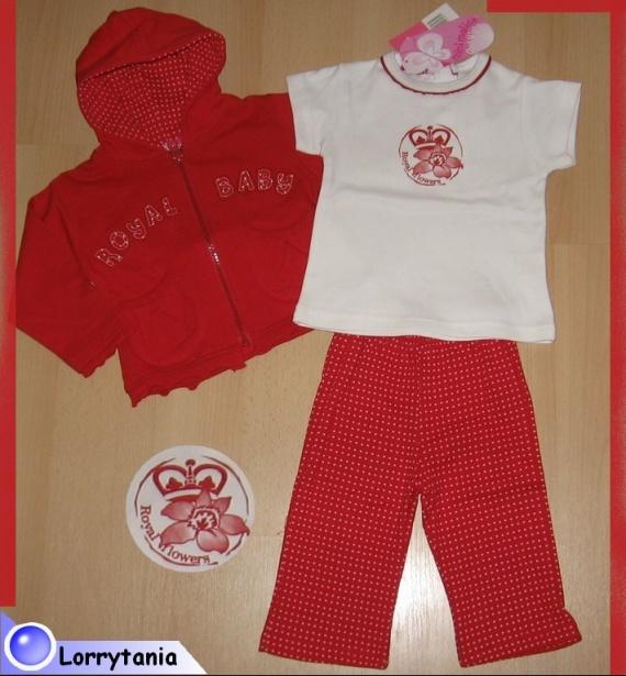 6m_ensemble 3 P rouge et blanc ROYAL BABY 9 €