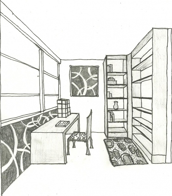 Dessin chambre 3d for Chambre perspective