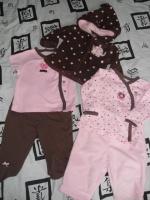 ensemble 5 pieces chocolat / rose CARTER'S (usa) 15€ veste et pantalon rose en polaire