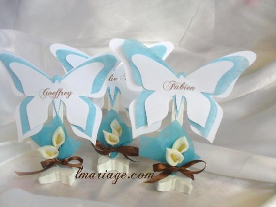 marque place papillon blanc et turquoise