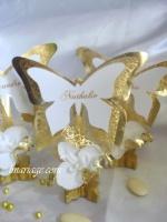 marque place papillon or et blanc orchidée