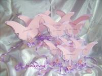 thème papillon rose et parme