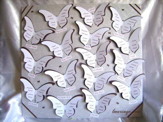 plan de table chocolat et blanc