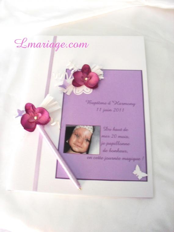 livre d'or orchidée prune