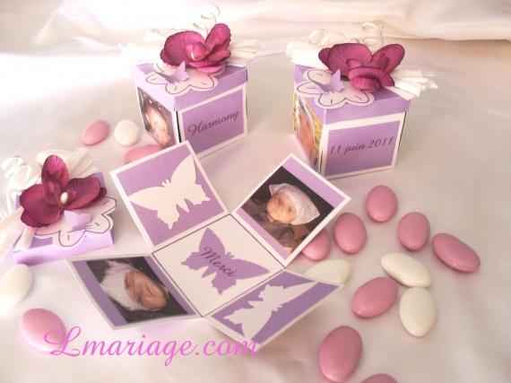 boîte à dragées orchidée prune