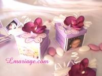 boîe à dragées orchidée prune