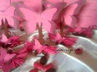 Marque place papillon fuschia et chocolat
