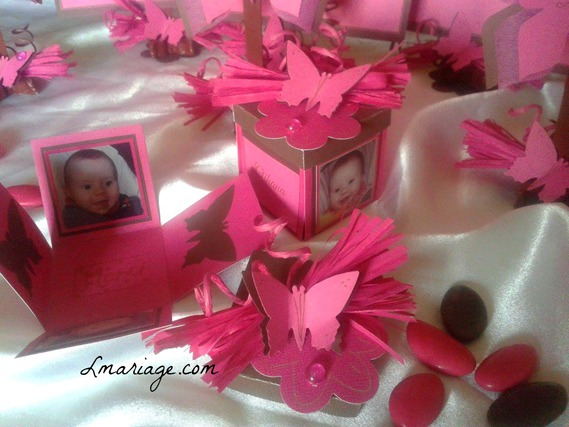 Boîte à dragées personnalisée papillon fuschia et chocolat