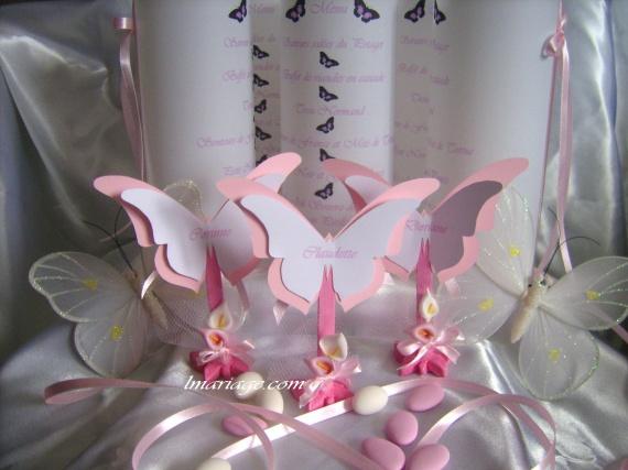 menu photophore + marque place papillon