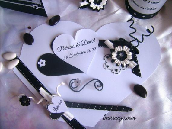 livre d'or coeur noir et blanc