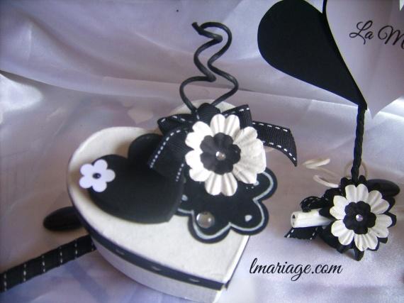 boite à dragées coeur noir et blanc