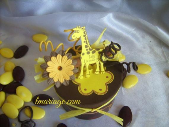 boite à dragées chocolat et jaune