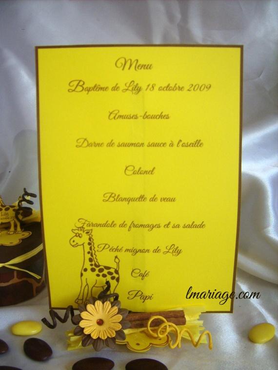 menu chocolat et jaune