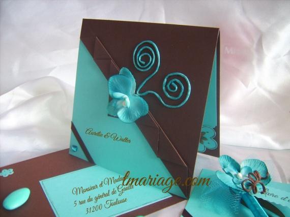 faire-part turquoise et chocolat