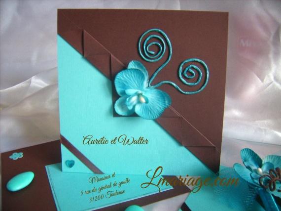 faire-part orchidée turquoise