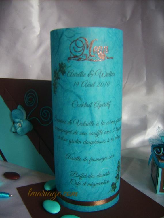 menu photophore turquoise et chocolat
