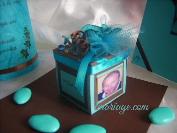 boite à dragées turquoise et chocolat