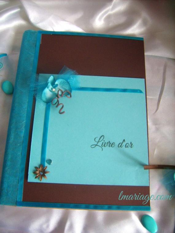 livre d'or turquoise et chocolat