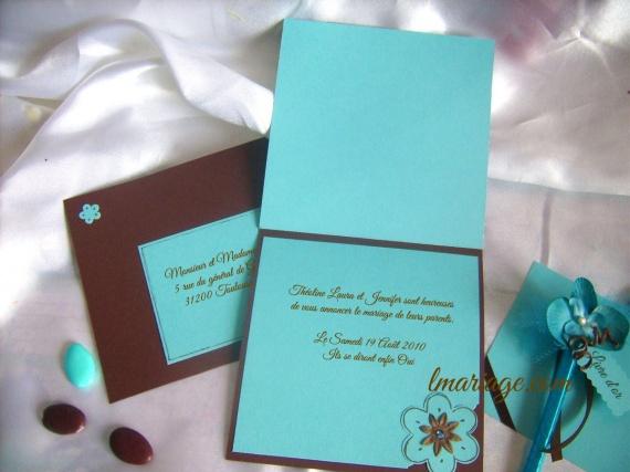 fare-part turquoise et chocolat