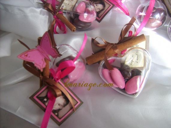 coeur de dragées fushia et chocolat
