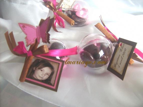 boule de dragées fushia et chocolat