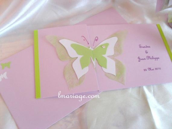 faire-part papillon anis et parme
