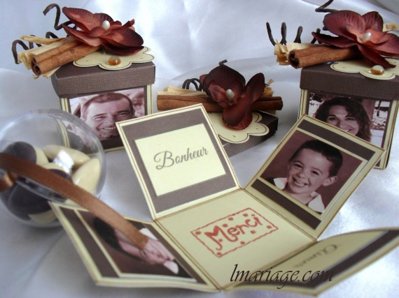 boite à dragées ivoire et chocolat