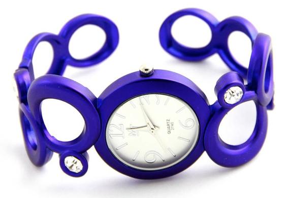 montre acier bleu violet