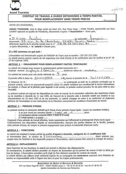 contrat de travail de remplacement
