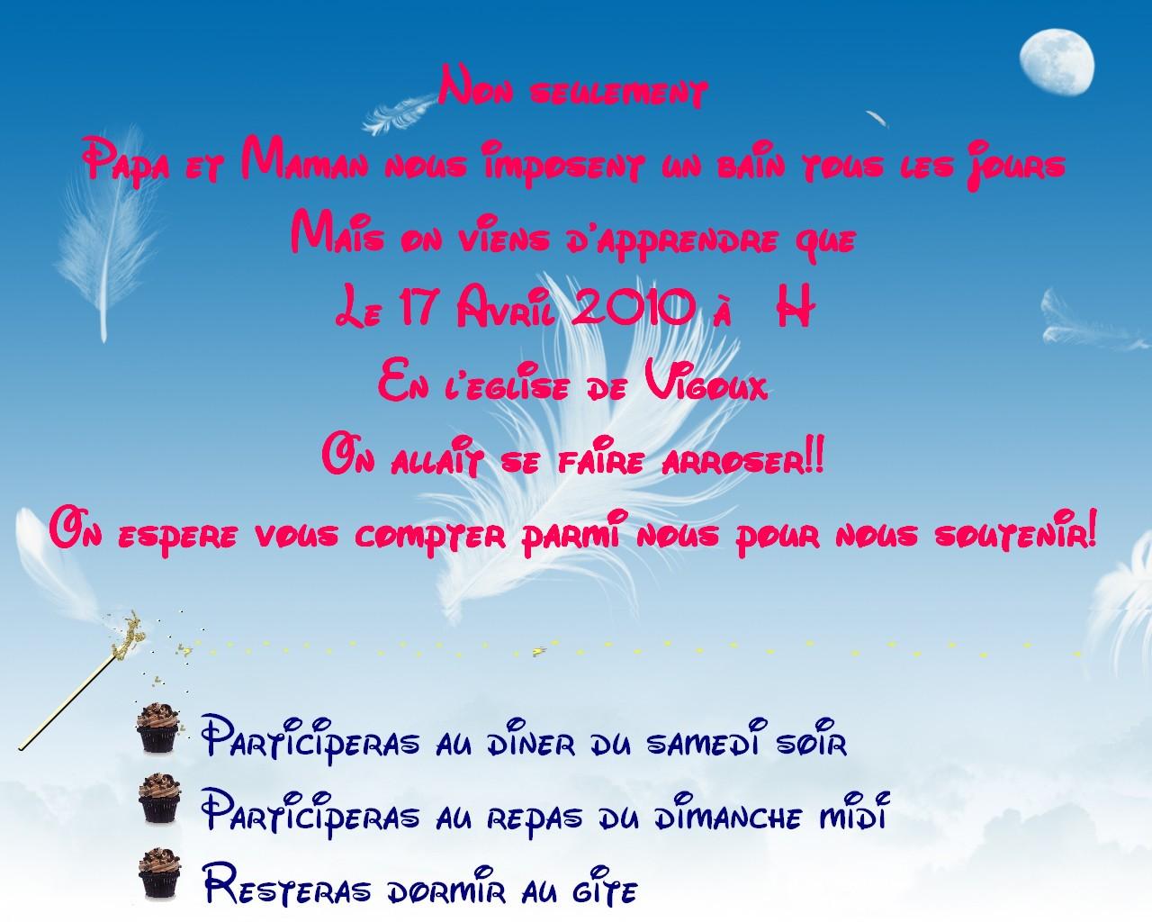 Aide Faire Part Thème Gâteaux Et Texte De Linvitation