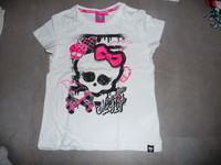 t-shirt blanc monster high 9/10 ans 2€