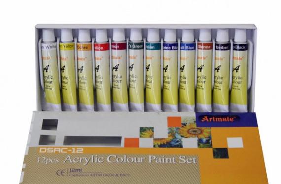 Bo te de 12 tubes de peinture acrylique 4 50 a vendre tout pour le serviet - Boite de peinture acrylique ...
