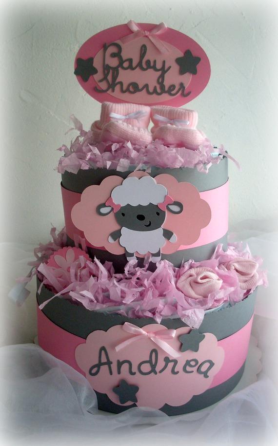 gâteau de couches fille gris rose mouton diaper cake baby girl cadeau de naissance original special