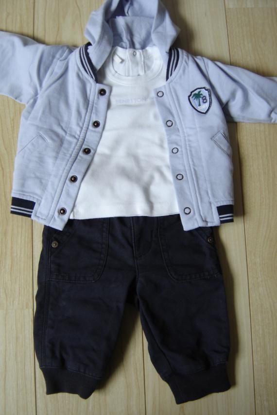 ensemble benetton taille italienne gilet capuche + tee shirt manche longue blanc + pantalon bleu mar