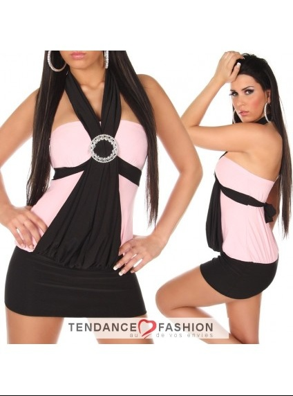 robe-fashion-avec-boucle-couleur-noir-et-rose