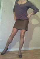 Purple top, skin skirt