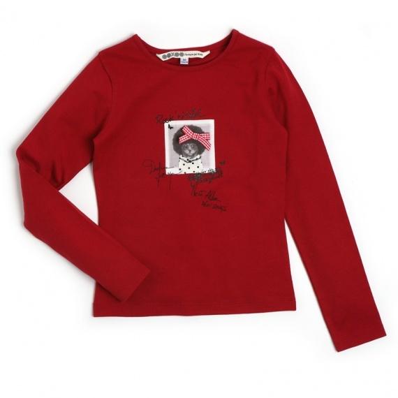 NULIA Ooxoo - Tee-shirt ML Enfant Fille - Rouge Heart