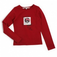 NULIA Ooxoo - Tee-shirt ML Enfant Fille - Rouge Heart