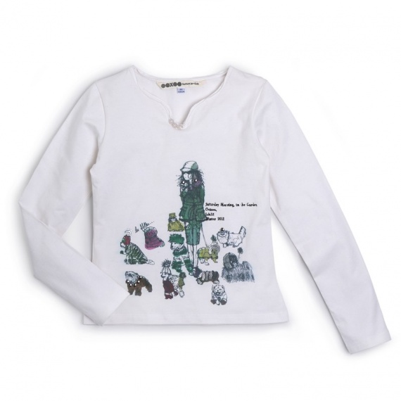 NOYBON Ooxoo - Tee-shirt ML Enfant Fille - Ecru Mousse