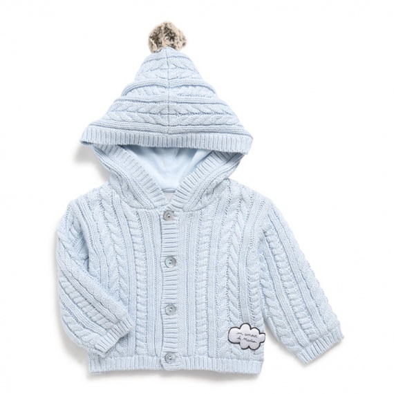 74f234ad0c019 Veste à capuche Marèse bébé garçon en tricot marron. Entièrement doublé de  jersey coton