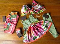 Catimini Paradis tropical foulard + tunique 18 mois + legging 2 ans + chaussettes neuves étiquette