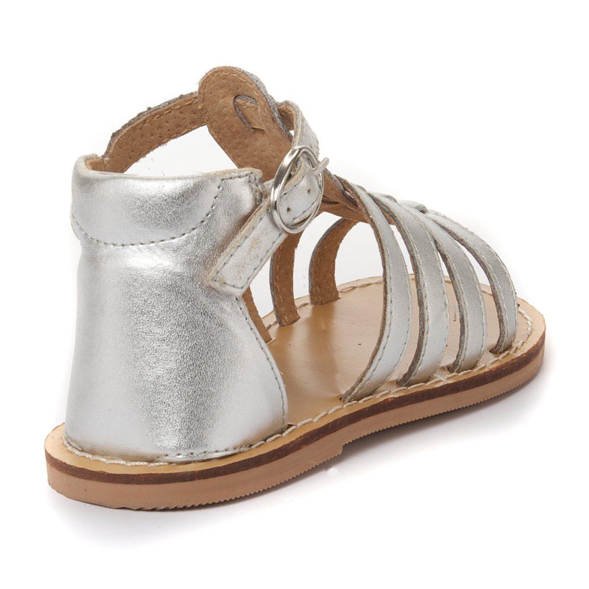 chaussures b b fille sandales trop ziennes argent cuir pointure 22 vendu 18 36 mois. Black Bedroom Furniture Sets. Home Design Ideas