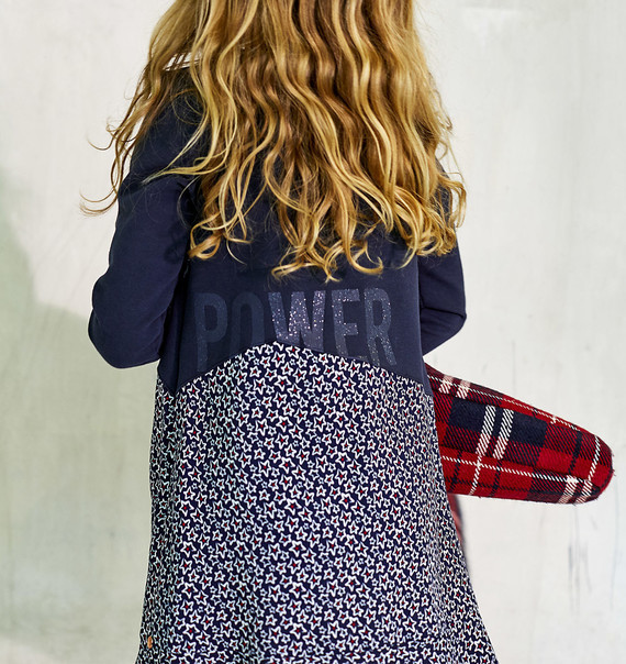 6 ANS IKKS ROBE FILLE NAVY buste Molleton jupe étoiles manches longues
