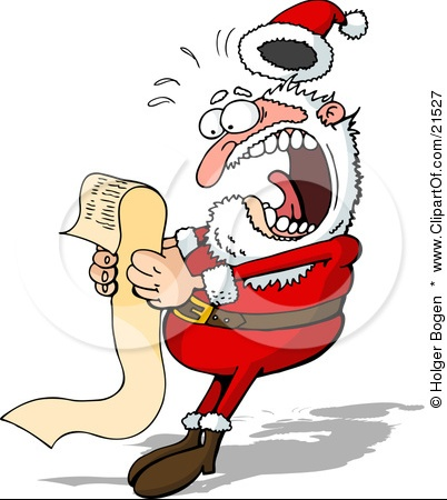 21527-Clipart-Illustration-Of-Santa-Claus-Screaming-In-Shock-While-Reading-A-Long-Wish-List-From-A-C