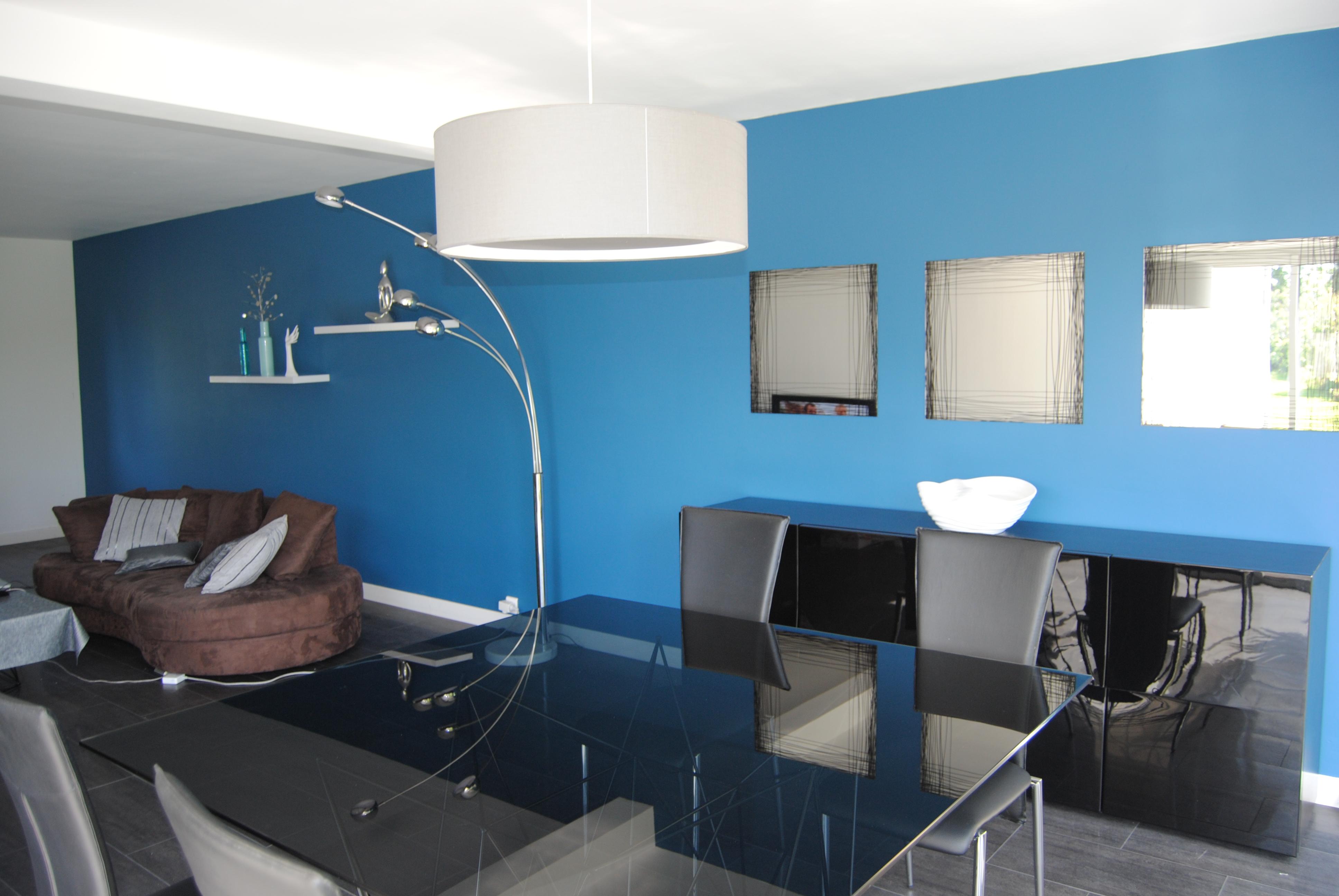 Salon Blanc Gris Bleu Canard peinture bleu canard dans mon séjour j'ai osé! (photo