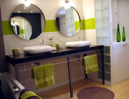 Salle de bain verte - marron - Salle de bain - Allteaa - Photos ...