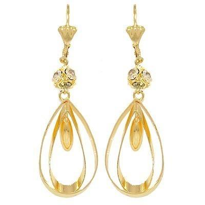 boucle d oreille double anneau ovale boule diamant cz plaque or bope018 ebay. Black Bedroom Furniture Sets. Home Design Ideas
