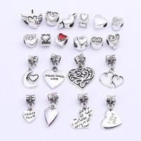 Antique-Argent-Coeurs-Charme-Perles-Fit-Pandora-Charmes-Diy-En-Métal-Coeurs-Mixtes-Perles-pour-Brace