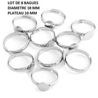 Lot-de-10-Support-de-Bague-Plateau-8mm-Couleur-Argent-0