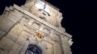 Mons, Père Noël est descendu en rappel du beffroi, décembre 2018